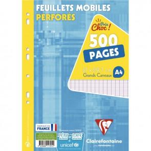 Étui de 500 pages ou 250 feuillets mobiles format A4 séyès 90g