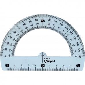 Rapporteur demi cercle 12 cm, 180° en plastique incassable Gradué en degrés
