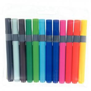 Pochette de 12 feutres pointe large couleurs assorties