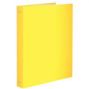 Classeur plastifié pour format A4, 4 anneaux ronds diamètre 30 mm, dos 40 mm, jaune