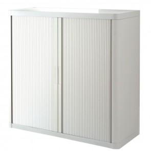 Armoire à rideaux 2 tablettes corps blanc / rideaux blancs