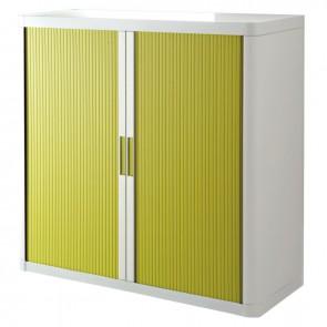 Armoire à rideaux 2 tablettes corps blanc / rideaux verts