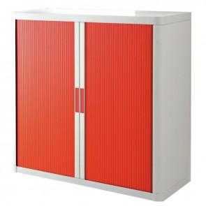 Armoire à rideaux 2 tablettes corps blanc / rideaux rouges