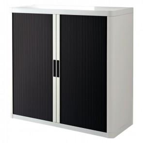 Armoire à rideaux 2 tablettes corps blanc / rideaux noirs