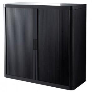 Armoire à rideaux 2 tablettes corps noir / rideaux noirs
