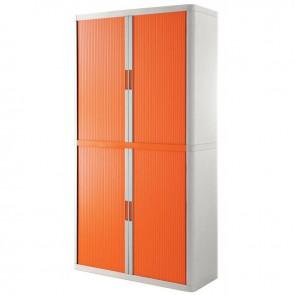 Armoire à rideaux 4 tablettes corps blanc / rideaux oranges