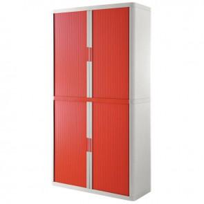 Armoire à rideaux 4 tablettes corps blanc / rideaux rouges