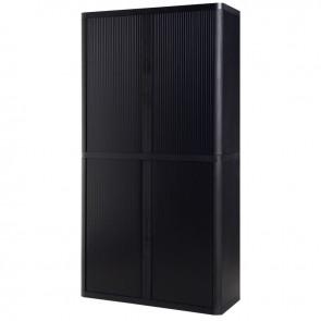 Armoire à rideaux 4 tablettes corps noir / rideaux noirs