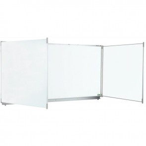 Tableau triptyque blanc émaillé 100x400 + auget