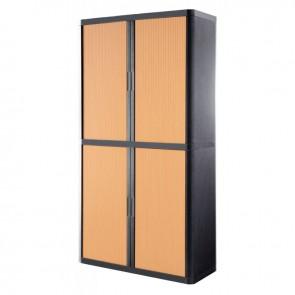 Armoire à rideaux 4 tablettes corps anthracite/rideaux hêtre