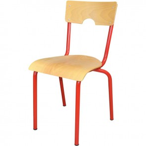 Chaise 4 pieds métal empilable T5 rouge