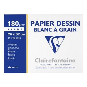 96177C Papier dessin blanc à grain 180 g. feuilles 24 x 32