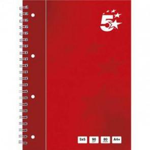 Cahier spiralé 160 pages 90g 5x5 A4+. Feuille détachable perforée. Couverture rembordée 5ET