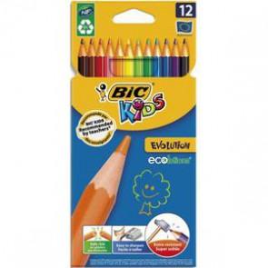 BIC Etui carton 12 crayons de couleur EVOLUTION. Longueur 17,5cm. Coloris assortis   223296