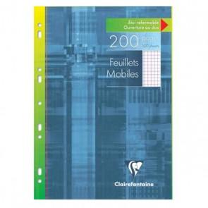 200 pages de copies simples A4 soit 21x29,7 cm  avec petits carreaux 5x5 mm + marge