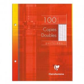 Paquet de 100 pages petites copies doubles 17x22 perforées, grands carreaux Seyès