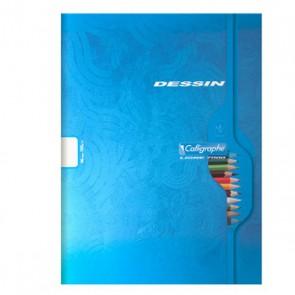 Liste scolaire : cahier de dessin 24 x 32 = A4 en 96 pages unies blanches épaisses en 120g