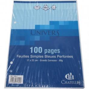 Copies simples 17x22 cm BLEUES 100 pages 50 feuillets en petit format pour classeur écolier.