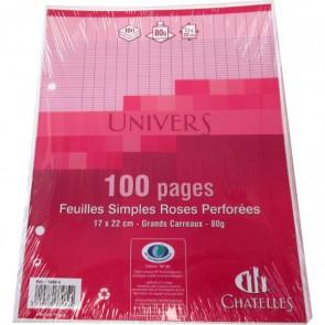 Copies simples 17x22 cm ROSE 100 pages 50 feuillets en petit format pour classeur écolier.