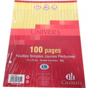Copies simples 17x22 cm JAUNES 100 pages 50 feuillets en petit format pour classeur écolier.