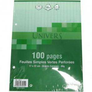Copies simples 17x22 cm VERTES 100 pages 50 feuillets en petit format pour classeur écolier.