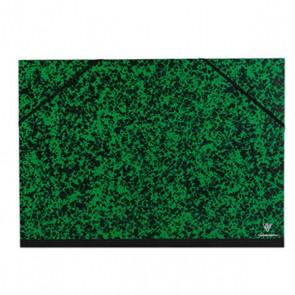 Carton à dessin 37x52 cm. Pour document B3 et 1/2 raisin avec élastiques  Annonay marbré vert noir Ref  EXACOMPTA : 542200E