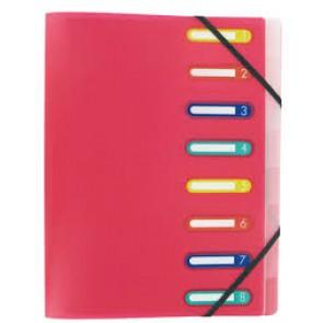 Trieur 8 compartiments, couverture plastique ROSE translucide