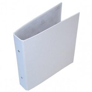 Classeur à 2 anneaux carton recouvert plastique rembordé BLANC dim. 23 x 21.5 cm,  format liste scolaire pour y mettre des feuilles et intercalaires en 17x22 cm Référence 650E