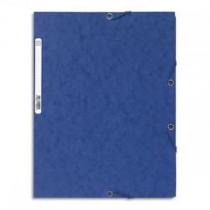 EXACOMPTA Chemise 3 rabats et élastique , en carte lustrée, 400gr. Format 24x32cm. Coloris bleu. 185852