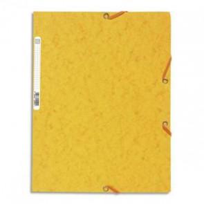 EXACOMPTA Chemise 3 rabats et élastique , en carte lustrée, 400gr. Format 24x32cm. Coloris jaune. 185909