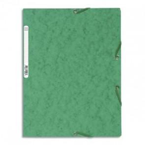 EXACOMPTA Chemise 3 rabats à élastique , 400gr. Format 24x32cm. Coloris vert.  185860
