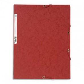 EXACOMPTA Chemise 3 rabats et élastique , en carte lustrée 400gr. Format 24x32cm. Coloris rouge