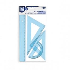 Set Traçage règle 30 cm + 2 équerres 45° et 60° et rapporteur