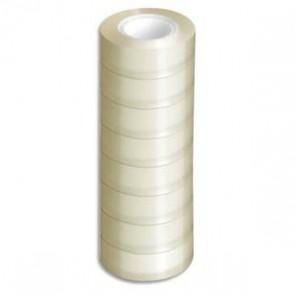 Lot de 8 rouleaux d'adhésif 1er prix translucide et invisible à la pose 19 mm x 33 m.