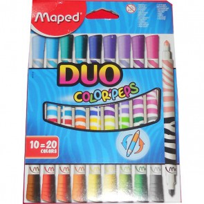 DUO 10 feutres 20 couleurs en pointe moyenne MAPED