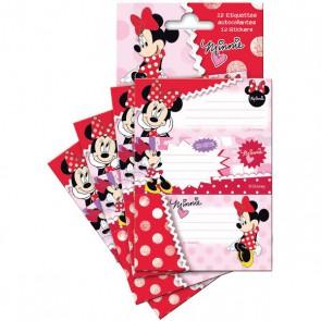 étiquette autocollante x 12 de Minnie Disney Pochette de 12 étiquettes 35 x 85 mm, pour étiqueter, personnaliser les classeurs, cahiers, etc. Avec un personnage incontournable de Disney.