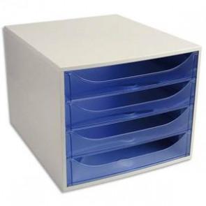 Module de classement ECO 4 tiroirs gris bleu translucide