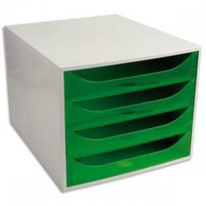 Module de classement 1er prix 4 tiroirs gris vert translucide