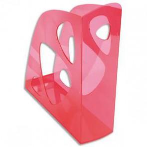 Porte-revues 1er prix. Pour document format A4+. oeillet de tirage pour préhension aisée. Dimensions (l x h x p) : 7,7 x 25,7 x 24,8 cm. Rose translucide