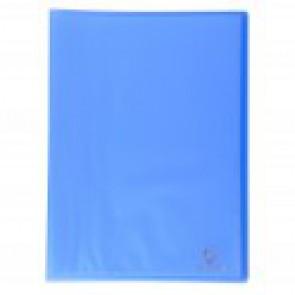 Porte-vues protège documents 100 vues en 50 pochettes A4 lisses, couverture Chromaline BLEUE  translucide semi rigide