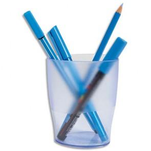 Pot à crayon bleu translucide