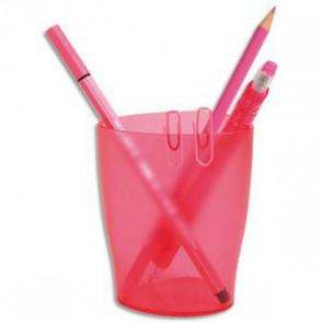 Pot à crayons 1er prix rose translucide - Dimensions : L 8 x H9,5 x P6 cm
