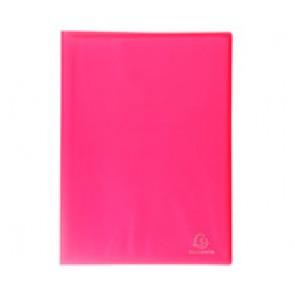 Porte-vues protège document 160 vues en 80 pochettes A4 lisses, couverture Chromaline ROUGE MAGENTA translucide semi rigide, Réf. Exacompta 85869E