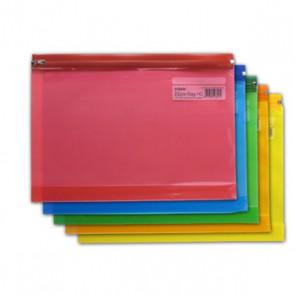 Pochette plastique fermeture Zip,  donc coulissante sur rails  plastiques , prévue pour ranger des documents A5 (la Marque est connue Tarifold)