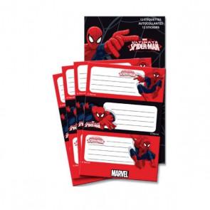 étiquettes SPIDERMAN par 12 étiquette autocollante x 12 de Minnie Disney Pochette de 12 étiquettes 35 x 85 mm, pour étiqueter, personnaliser les classeurs, cahiers, etc. Avec un personnage incontournable.